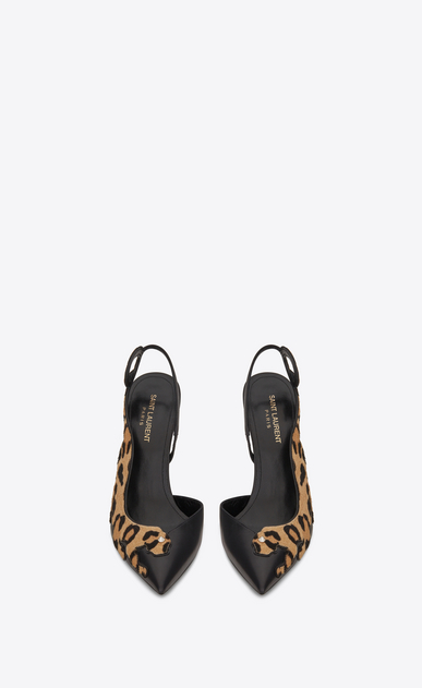 SAINT LAURENT Anja D ANJA 105 Punk Leopard Slingback Pump in Black Leather and Tan Cowhide b_V4
