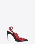 SAINT LAURENT Anja D Décolleté ANJA 105 Punk Panther Slingback in serpente nero e vernice rossa f