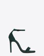 SAINT LAURENT Amber D AMBER 105 Ankle Strap Sandal in Dark Green Velvet f