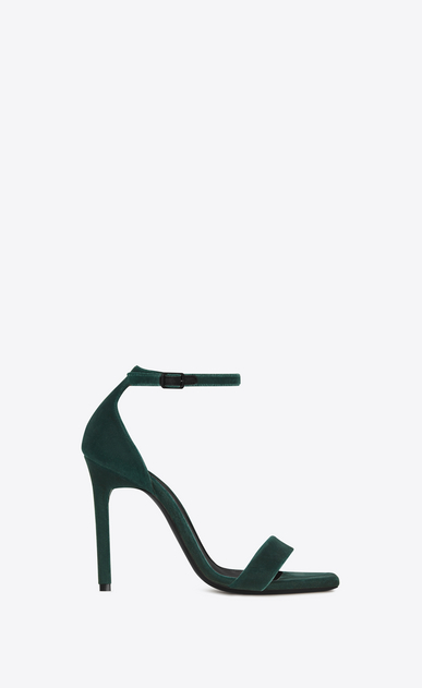 SAINT LAURENT Amber D AMBER 105 Ankle Strap Sandal in Dark Green Velvet a_V4