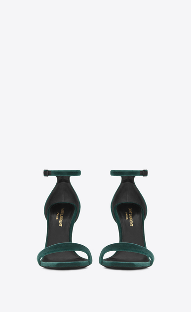 SAINT LAURENT Amber D AMBER 105 Ankle Strap Sandal in Dark Green Velvet b_V4