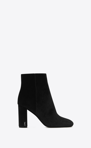 SAINT LAURENT Loulou D LOULOU 95 Zipped Ankle Boot in Black Velvet a_V4