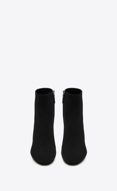 SAINT LAURENT Loulou D LOULOU 95 Zipped Ankle Boot in Black Velvet b_V4