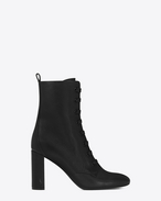 SAINT LAURENT Loulou D LOULOU 95 Lace-Up Boot in Black Grained Leather f