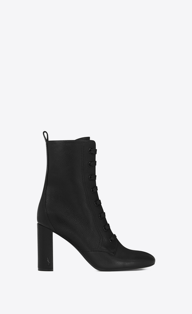 SAINT LAURENT Loulou D LOULOU 95 Lace-Up Boot in Black Grained Leather a_V4