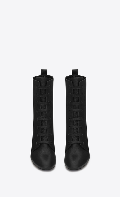 SAINT LAURENT Loulou D LOULOU 95 Lace-Up Boot in Black Grained Leather b_V4