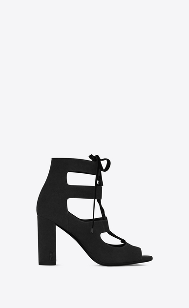 SAINT LAURENT Loulou D LOULOU 95 Lace-Up Sandal in Black Suede a_V4
