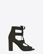 SAINT LAURENT Loulou D LOULOU 95 Lace-Up Sandal in Army Green Suede f