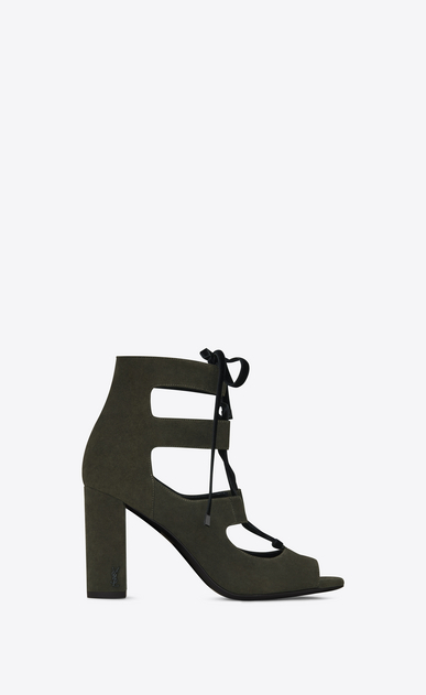 SAINT LAURENT Loulou D LOULOU 95 Lace-Up Sandal in Army Green Suede a_V4