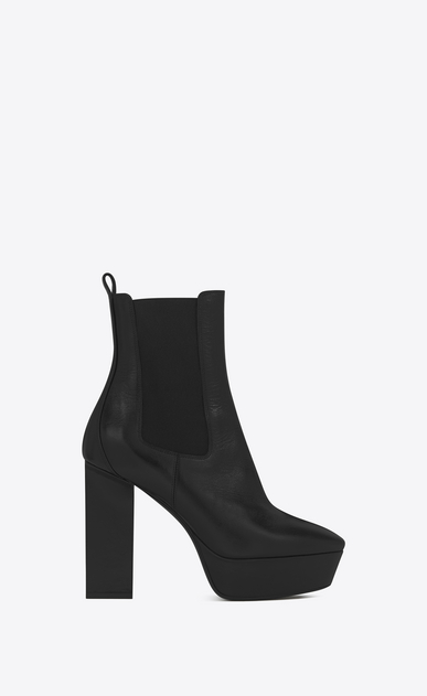 SAINT LAURENT Heel Booties D VIKA 95 Chelsea Ankle Boot in Black Leather a_V4