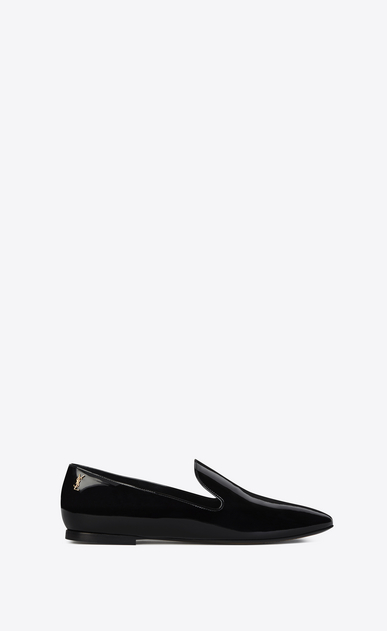 SAINT LAURENT Classic Masculine Shapes D SMOKING 05 MONOGRAM Slipper in Black Patent Leather a_V4