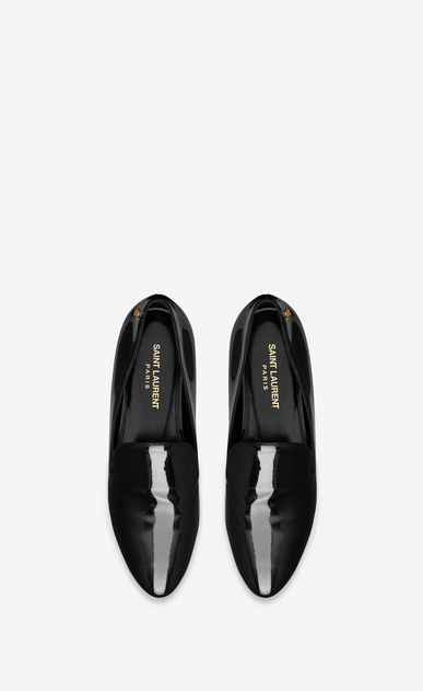 SAINT LAURENT Classic Masculine Shapes D SMOKING 05 MONOGRAM Slipper in Black Patent Leather b_V4