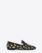 SAINT LAURENT Classic Masculine Shapes D SMOKING 05 MONOGRAM Slipper in Black, Gold and Silver Leopard Jacquard f