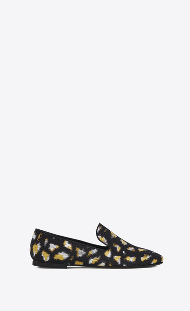 SAINT LAURENT Classic Masculine Shapes D SMOKING 05 MONOGRAM Slipper in Black, Gold and Silver Leopard Jacquard a_V4