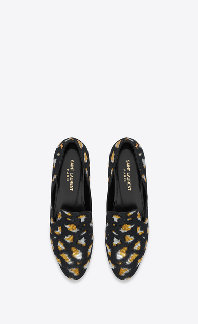 SAINT LAURENT Classic Masculine Shapes D SMOKING 05 MONOGRAM Slipper in Black, Gold and Silver Leopard Jacquard b_V4