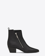 SAINT LAURENT Flat Booties D ROCK 40 Zip Ankle Boot in Black Leather f
