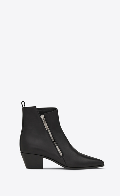 SAINT LAURENT Flat Booties D ROCK 40 Zip Ankle Boot in Black Leather a_V4