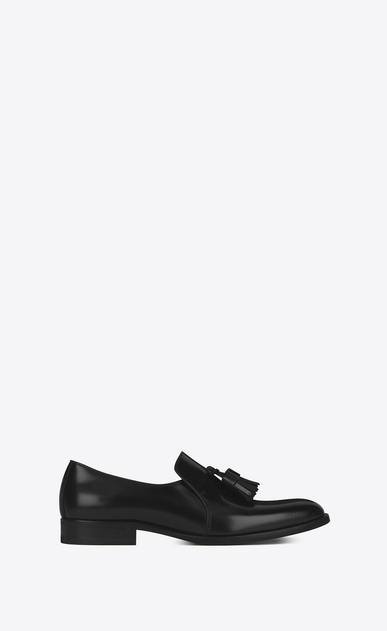 SAINT LAURENT Classic Masculine Shapes Woman MONTAIGNE 25 Tasseled Loafer in Black Leather a_V4