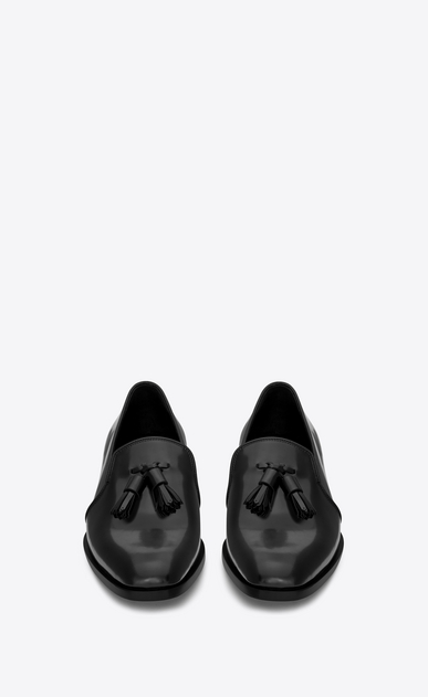 SAINT LAURENT Classic Masculine Shapes Woman MONTAIGNE 25 Tasseled Loafer in Black Leather b_V4