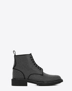 SAINT LAURENT Flat Booties D WILLIAM 25 Studded Lace-up Boot in Black Leather f
