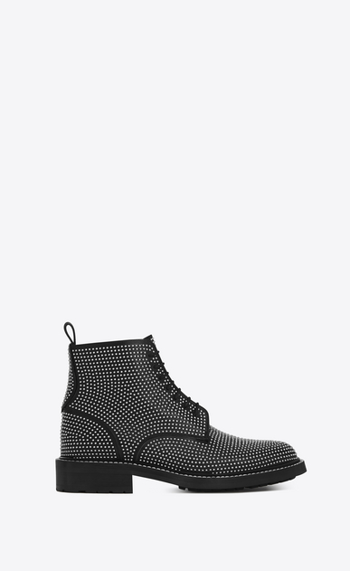 SAINT LAURENT Flat Booties D WILLIAM 25 Studded Lace-up Boot in Black Leather a_V4