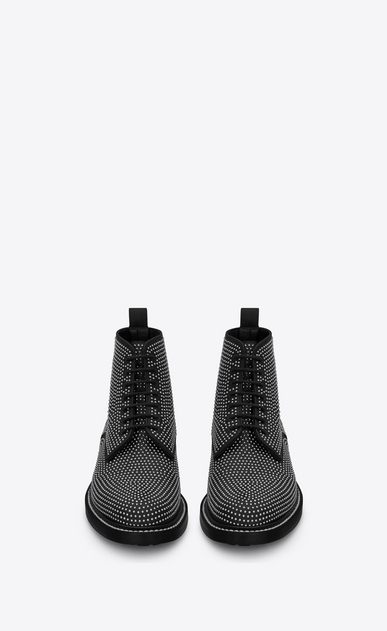 SAINT LAURENT Flat Booties D WILLIAM 25 Studded Lace-up Boot in Black Leather b_V4