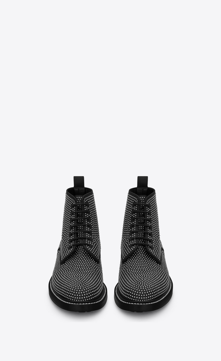 Saint Laurent WILLIAM 25 Studded Lace Up Boot In Black Leather ... 928146704c8d