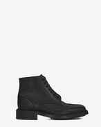 "SAINT LAURENT Flat Booties D WILLIAM 25 Wingtip ""LOVE"" Lace-up Boot in Black Leather f"