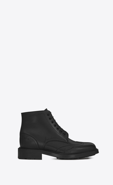 "SAINT LAURENT Flat Booties D WILLIAM 25 Wingtip ""LOVE"" Lace-up Boot in Black Leather a_V4"