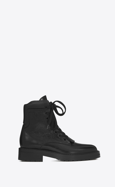 SAINT LAURENT Flat Booties D WILLIAM 25 Front Zip Boot in Black Leather a_V4