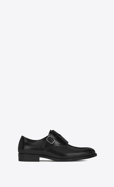 SAINT LAURENT Classic Masculine Shapes Woman DARE 25 Monkstrap Shoe in Black Leather a_V4