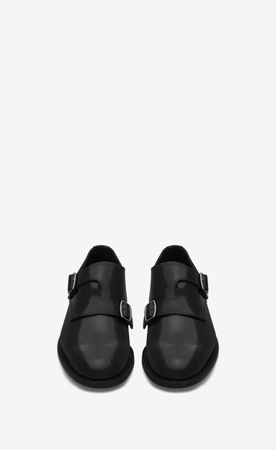 SAINT LAURENT Classic Masculine Shapes Woman DARE 25 Monkstrap Shoe in Black Leather b_V4