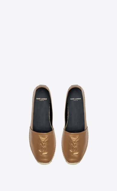SAINT LAURENT Espadrille D MONOGRAM ESPADRILLE in Dark Gold Metallic Leather b_V4