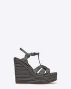 SAINT LAURENT Espadrille D ESPADRILLE 95 T-Strap Wedge Sandal in Gunmetal Metallic Leather f