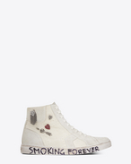 "SAINT LAURENT Trainers D joe ""SMOKING FOREVER"" Mid Top Sneaker in Used White Canvas and Ivory Suede f"