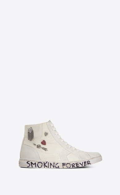 SAINT LAURENT Sneakers Woman joe Mid Top Sneaker in Used White Canvas and Ivory Suede a_V4