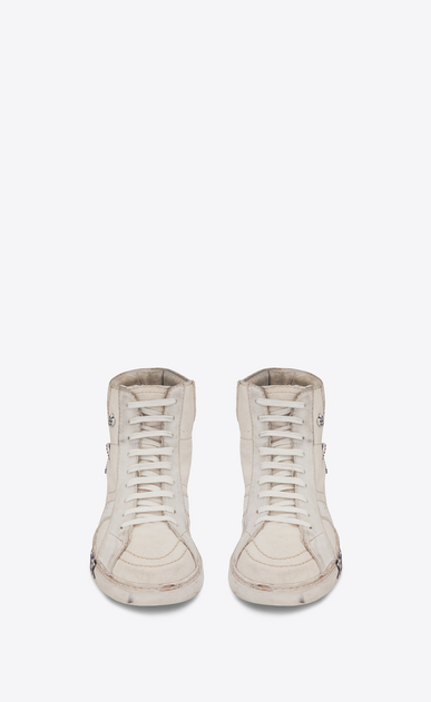 SAINT LAURENT Sneakers Woman joe Mid Top Sneaker in Used White Canvas and Ivory Suede b_V4