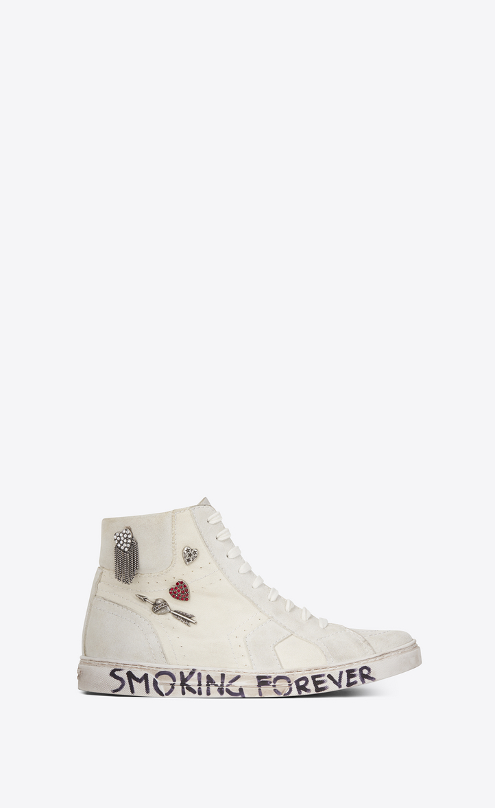 Toile Saint Laurent Blanc Joe Salut Top Sneakers WMDxs