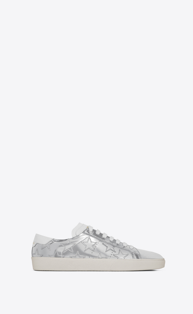 SAINT LAURENT Sneakers D Klassischer Signature Court SL/06 CALIFORNIA aus silbernem Leder mit Metallic-Optik a_V4