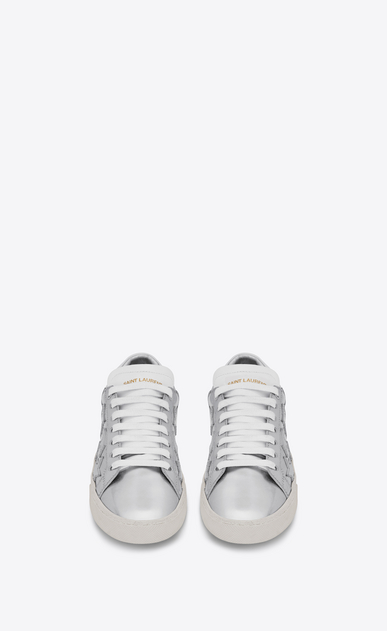 SAINT LAURENT Sneakers D Klassischer Signature Court SL/06 CALIFORNIA aus silbernem Leder mit Metallic-Optik b_V4