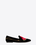 "SAINT LAURENT Classic Masculine Shapes D SMOKING 05 ""LOVE"" Slipper in Black Velvet f"