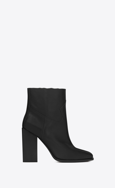 SAINT LAURENT Heel Booties D JODIE 105 Western Ankle Boot in Black Leather a_V4