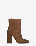SAINT LAURENT Heel Booties D JODIE 105 Western Ankle Boot in Cognac Leather f