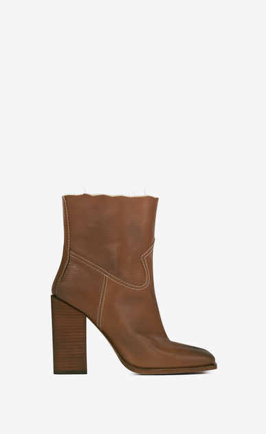 SAINT LAURENT Heel Booties D JODIE 105 Western Ankle Boot in Cognac Leather a_V4