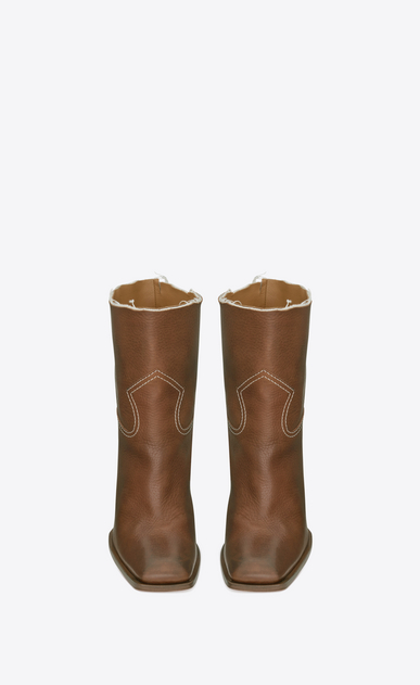 SAINT LAURENT Heel Booties D JODIE 105 Western Ankle Boot in Cognac Leather b_V4