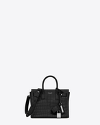 SAINT LAURENT Sac De Jour Supple D Nano SAC DE JOUR SOUPLE Bag in Black Crocodile Embossed Leather f
