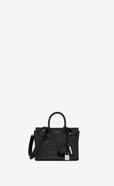 SAINT LAURENT Sac De Jour Supple D Nano SAC DE JOUR SOUPLE Bag in Black Crocodile Embossed Leather a_V4