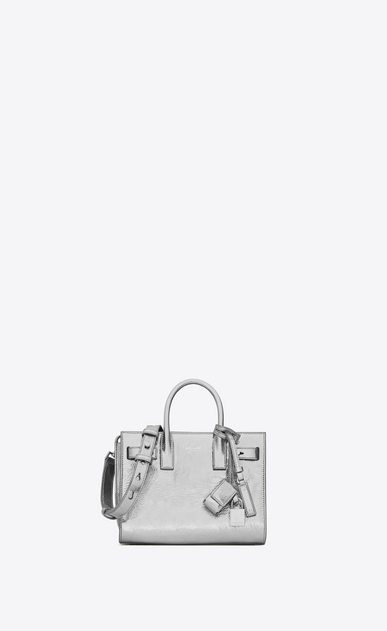 SAINT LAURENT Sac De Jour Supple D Nano SAC DE JOUR SOUPLE Bag in Silver Metallic Leather a_V4