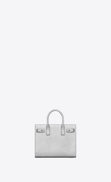 SAINT LAURENT Sac De Jour Supple D Nano SAC DE JOUR SOUPLE Bag in Silver Metallic Leather b_V4