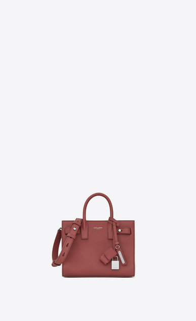 SAINT LAURENT Sac De Jour Supple D Nano SAC DE JOUR SOUPLE Bag in Dark Rose Grained Leather a_V4